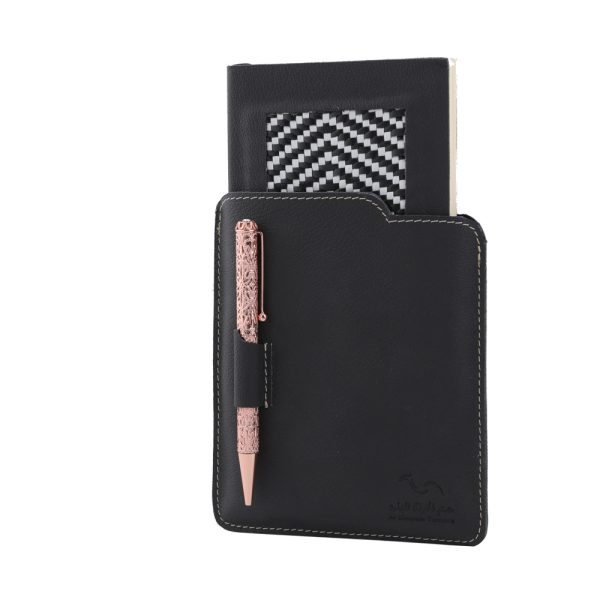 Notebook Set With Woven Leather LG 254 Black